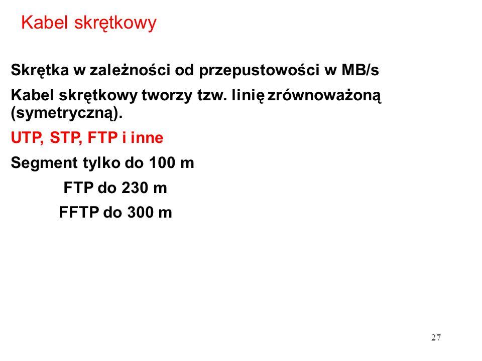 Kabel skrętkowy Skrętka w zależności od przepustowości w MB/s Kabel skrętkowy tworzy tzw. linię zrównoważoną (symetryczną). UTP, STP, FTP i inne Segme