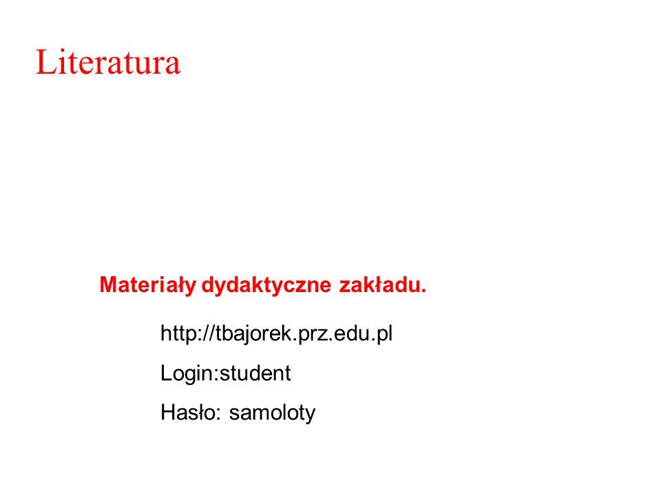 Literatura http://tbajorek.prz.edu.pl Login:student Hasło: samoloty Materiały dydaktyczne zakładu.