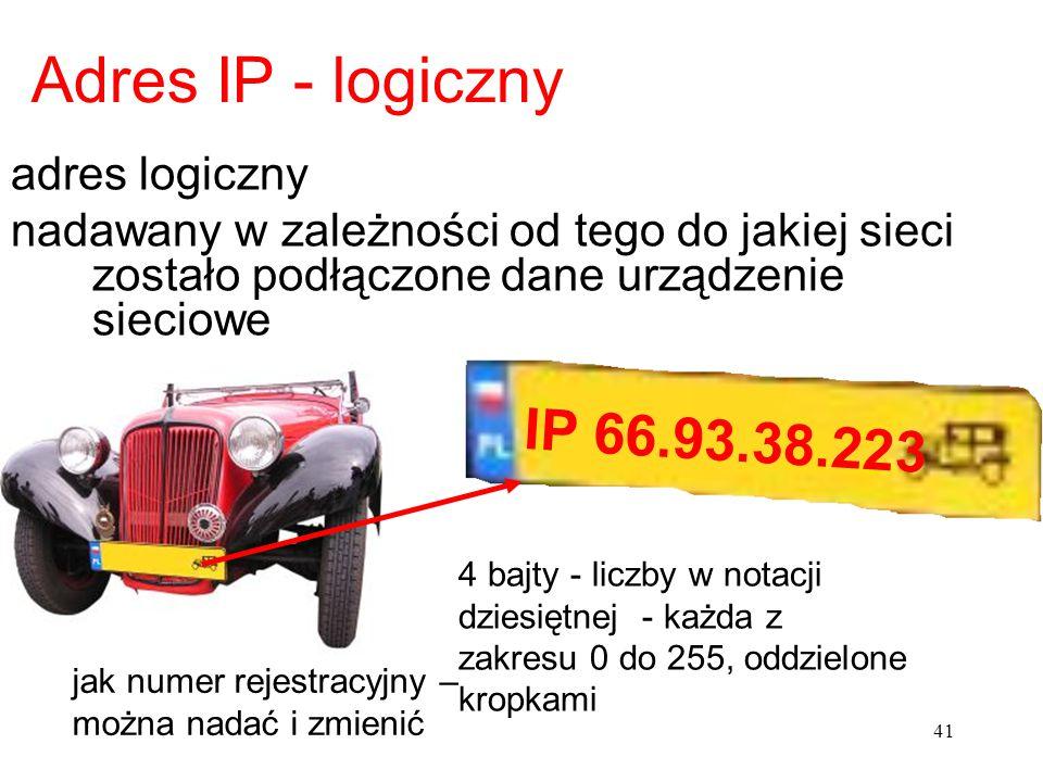 Adres IP - logiczny adres logiczny nadawany w zależności od tego do jakiej sieci zostało podłączone dane urządzenie sieciowe IP 66.93.38.223 41 jak nu
