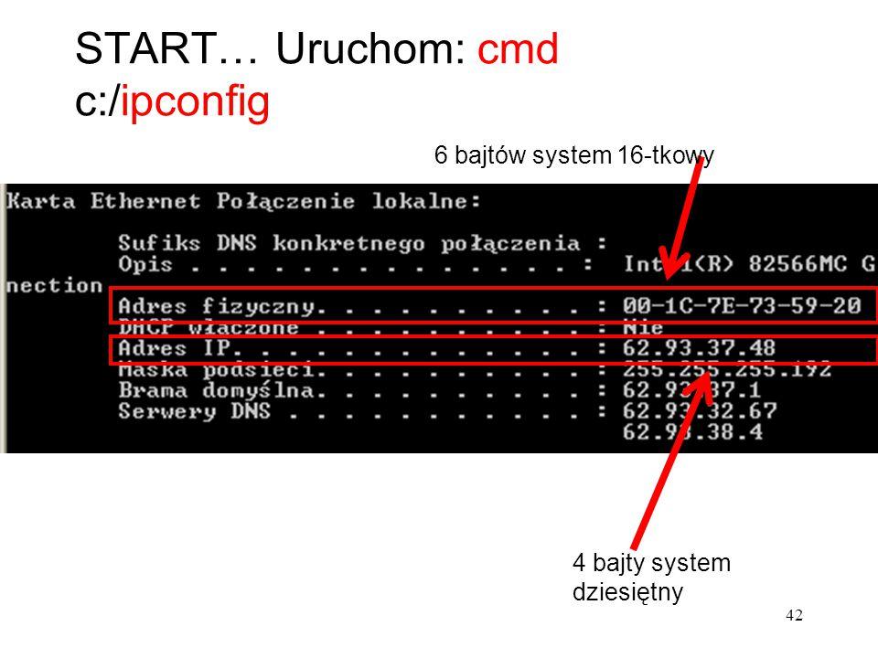 START… Uruchom: cmd c:/ipconfig 6 bajtów system 16-tkowy 4 bajty system dziesiętny 42
