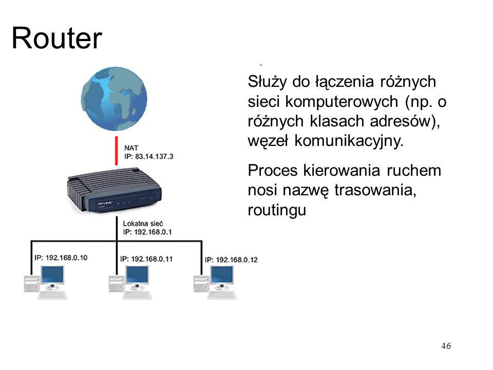 Router Służy do łączenia różnych sieci komputerowych (np. o różnych klasach adresów), węzeł komunikacyjny. Proces kierowania ruchem nosi nazwę trasowa