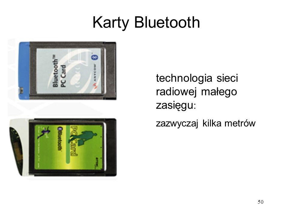 Karty Bluetooth 50 technologia sieci radiowej małego zasięgu : zazwyczaj kilka metrów