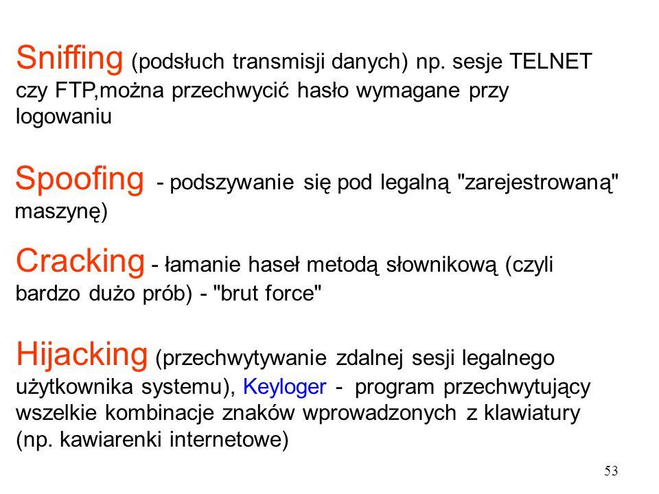 Sniffing (podsłuch transmisji danych) np. sesje TELNET czy FTP,można przechwycić hasło wymagane przy logowaniu Spoofing - podszywanie się pod legalną