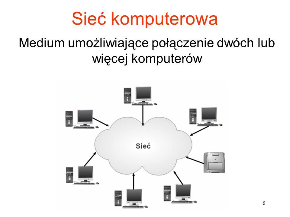 Sieć komputerowa Medium umożliwiające połączenie dwóch lub więcej komputerów 8