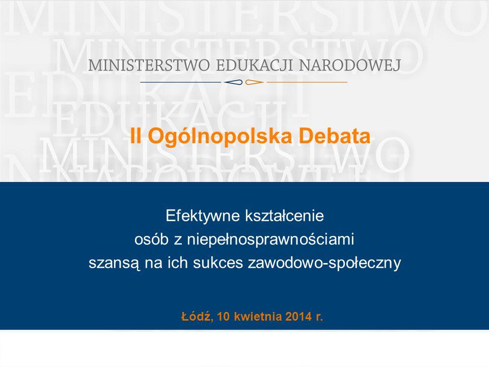 II Ogólnopolska Debata Łódź, 10 kwietnia 2014 r. Efektywne kształcenie osób z niepełnosprawnościami szansą na ich sukces zawodowo-społeczny