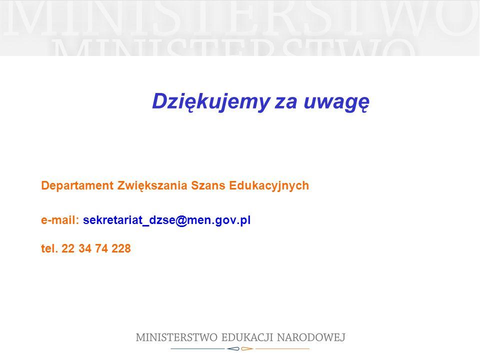 Dziękujemy za uwagę Departament Zwiększania Szans Edukacyjnych e-mail: sekretariat_dzse@men.gov.pl tel. 22 34 74 228
