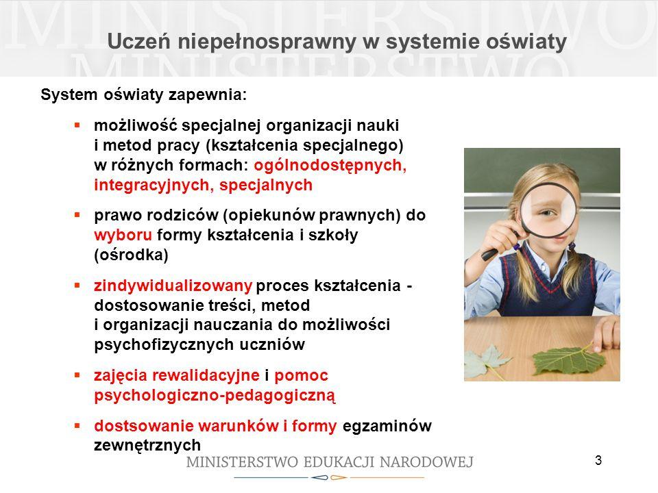 3 Uczeń niepełnosprawny w systemie oświaty System oświaty zapewnia:  możliwość specjalnej organizacji nauki i metod pracy (kształcenia specjalnego) w