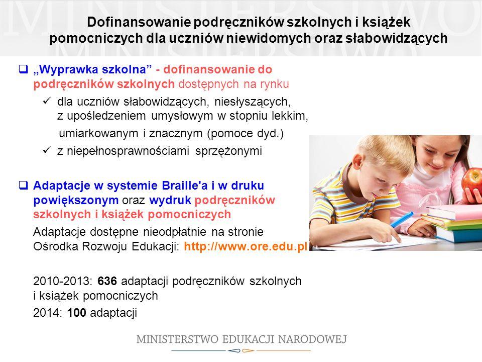 """Dofinansowanie podręczników szkolnych i książek pomocniczych dla uczniów niewidomych oraz słabowidzących  """"Wyprawka szkolna - dofinansowanie do podręczników szkolnych dostępnych na rynku dla uczniów słabowidzących, niesłyszących, z upośledzeniem umysłowym w stopniu lekkim, umiarkowanym i znacznym (pomoce dyd.) z niepełnosprawnościami sprzężonymi  Adaptacje w systemie Braille a i w druku powiększonym oraz wydruk podręczników szkolnych i książek pomocniczych Adaptacje dostępne nieodpłatnie na stronie Ośrodka Rozwoju Edukacji: http://www.ore.edu.pl 2010-2013: 636 adaptacji podręczników szkolnych i książek pomocniczych 2014: 100 adaptacji"""