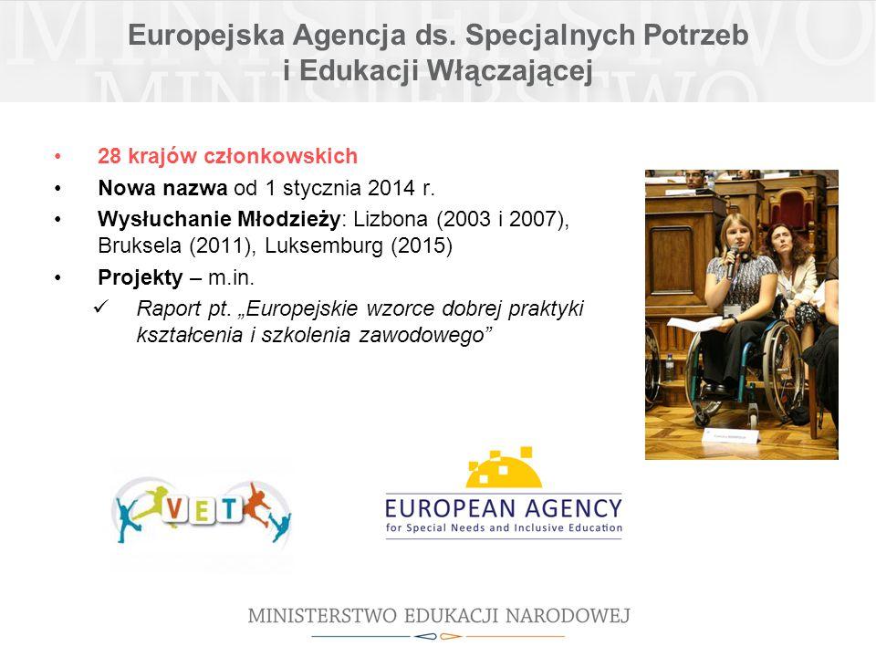Europejska Agencja ds. Specjalnych Potrzeb i Edukacji Włączającej 28 krajów członkowskich Nowa nazwa od 1 stycznia 2014 r. Wysłuchanie Młodzieży: Lizb