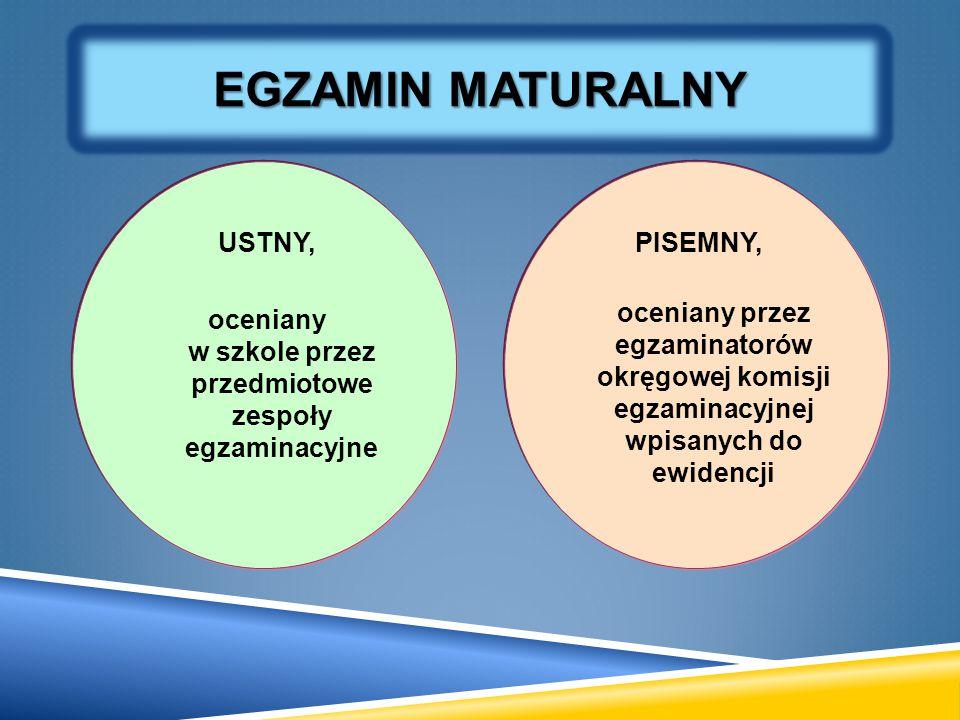 USTNY, oceniany w szkole przez przedmiotowe zespoły egzaminacyjne PISEMNY, oceniany przez egzaminatorów okręgowej komisji egzaminacyjnej wpisanych do