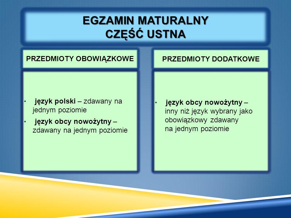 PRZEDMIOTY OBOWIĄZKOWE PRZEDMIOTY DODATKOWE EGZAMIN MATURALNY CZĘŚĆ USTNA język polski – zdawany na jednym poziomie język obcy nowożytny – zdawany na