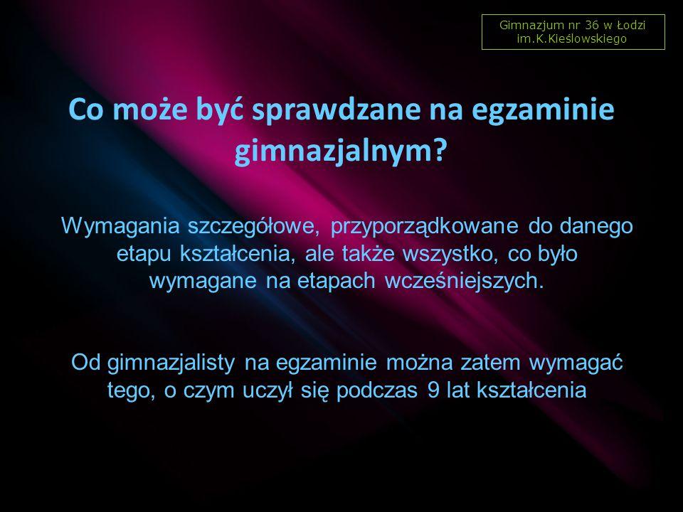 Gimnazjum nr 36 w Łodzi im.K.Kieślowskiego Skutki nieprzystąpienia ucznia do egzaminu gimnazjalnego z jednego z zakresów pierwszej lub drugiej części egzaminu.