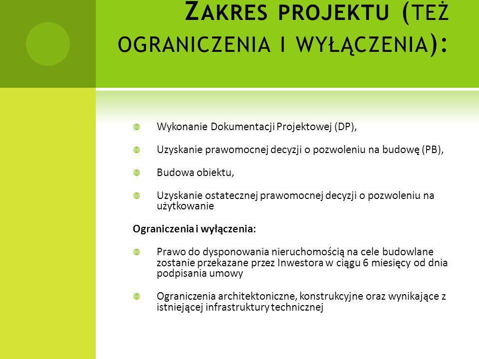 Z AKRES PROJEKTU ( TEŻ OGRANICZENIA I WYŁĄCZENIA ):  Wykonanie Dokumentacji Projektowej (DP),  Uzyskanie prawomocnej decyzji o pozwoleniu na budowę