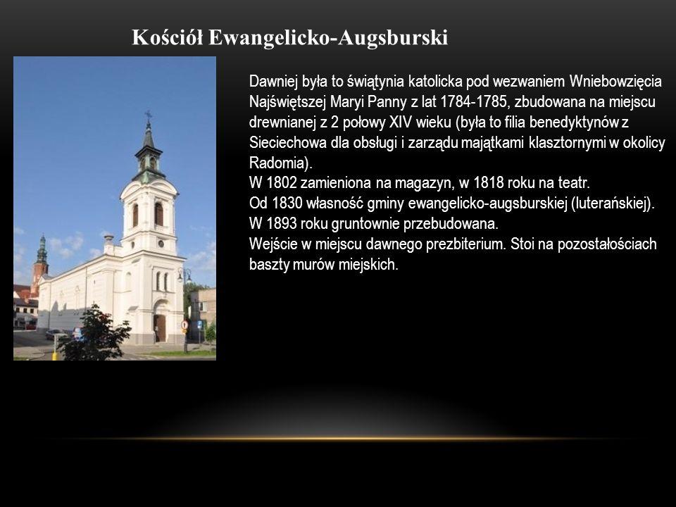 Kościół Ewangelicko-Augsburski Dawniej była to świątynia katolicka pod wezwaniem Wniebowzięcia Najświętszej Maryi Panny z lat 1784-1785, zbudowana na
