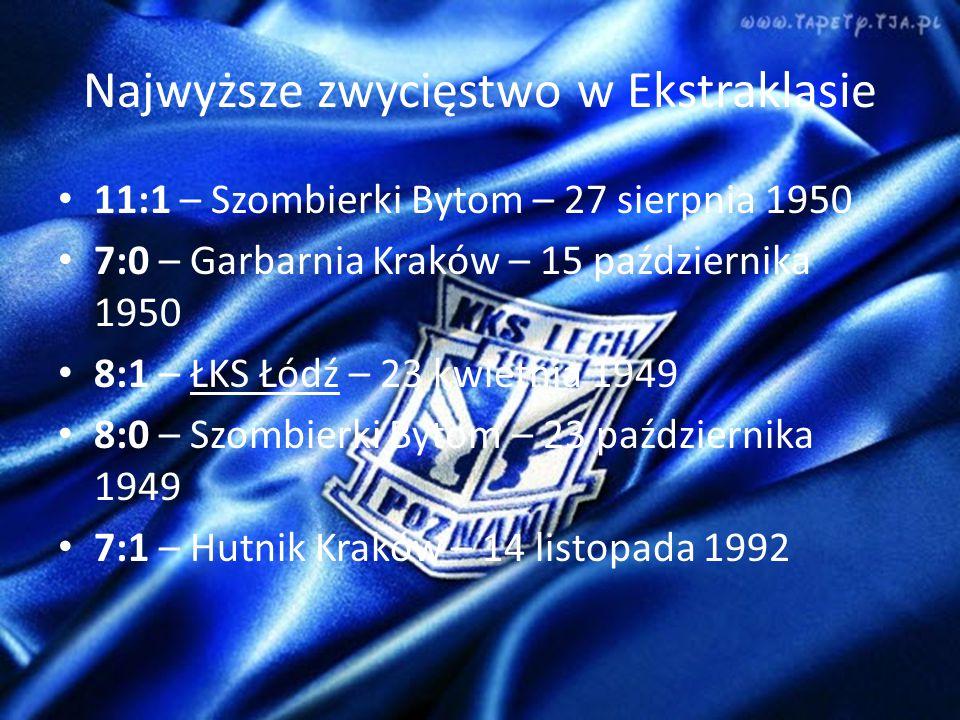 Najwyższe zwycięstwo w Ekstraklasie 11:1 – Szombierki Bytom – 27 sierpnia 1950 7:0 – Garbarnia Kraków – 15 października 1950 8:1 – ŁKS Łódź – 23 kwietnia 1949 8:0 – Szombierki Bytom – 23 października 1949 7:1 – Hutnik Kraków – 14 listopada 1992