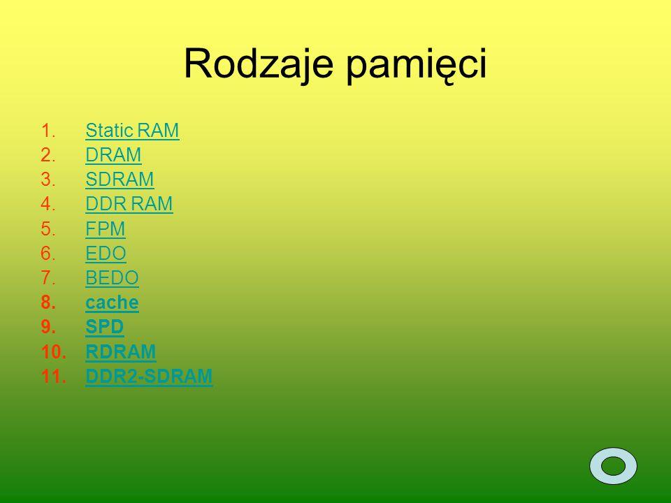 Rodzaje pamięci 1.Static RAMStatic RAM 2.DRAMDRAM 3.SDRAMSDRAM 4.DDR RAMDDR RAM 5.FPMFPM 6.EDOEDO 7.BEDOBEDO 8.cachecache 9.SPDSPD 10.RDRAMRDRAM 11.DD