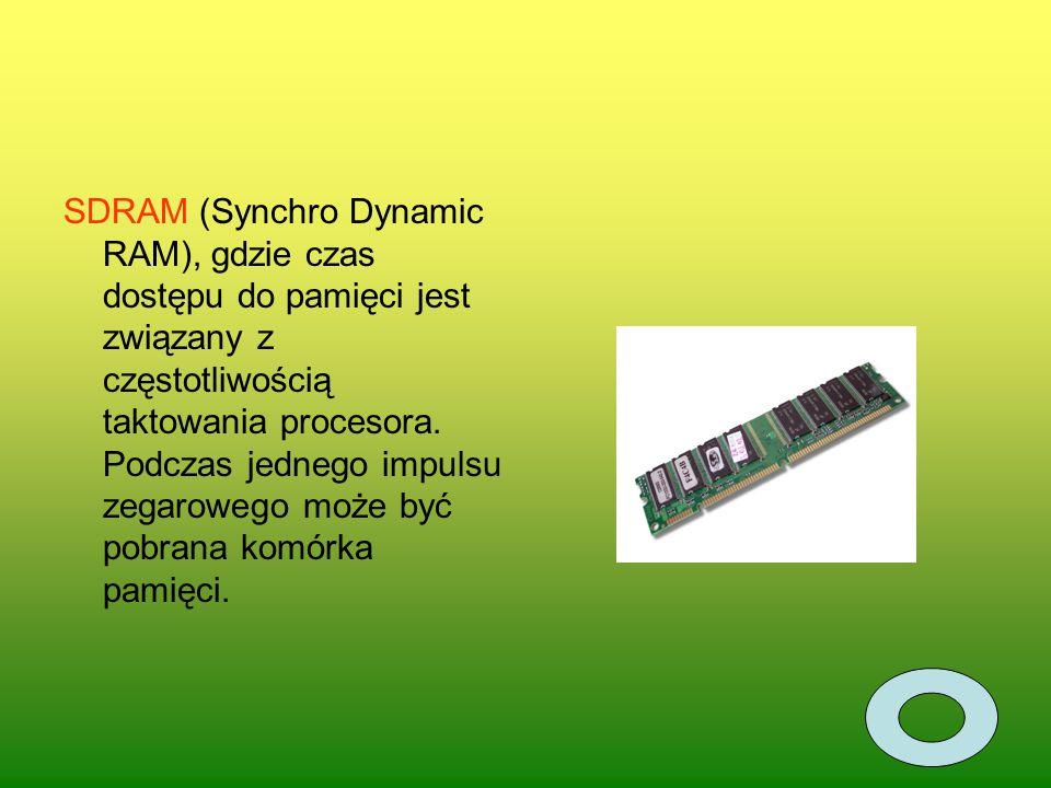 SDRAM (Synchro Dynamic RAM), gdzie czas dostępu do pamięci jest związany z częstotliwością taktowania procesora. Podczas jednego impulsu zegarowego mo