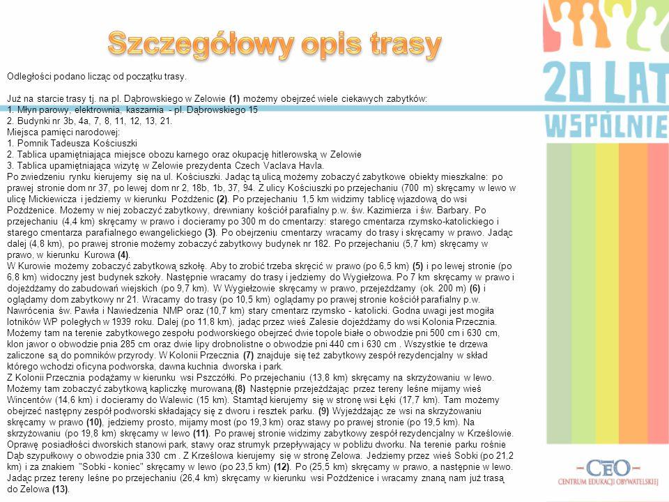 Odległości podano licząc od początku trasy. Już na starcie trasy tj. na pl. Dąbrowskiego w Zelowie (1) możemy obejrzeć wiele ciekawych zabytków: 1. Mł