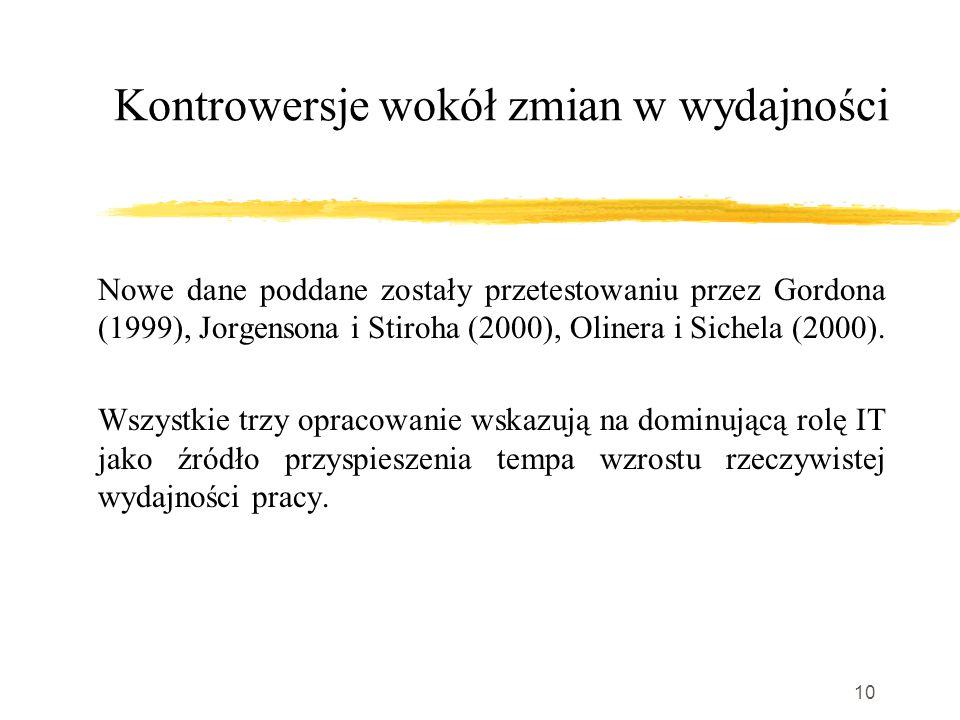 10 Kontrowersje wokół zmian w wydajności Nowe dane poddane zostały przetestowaniu przez Gordona (1999), Jorgensona i Stiroha (2000), Olinera i Sichela (2000).