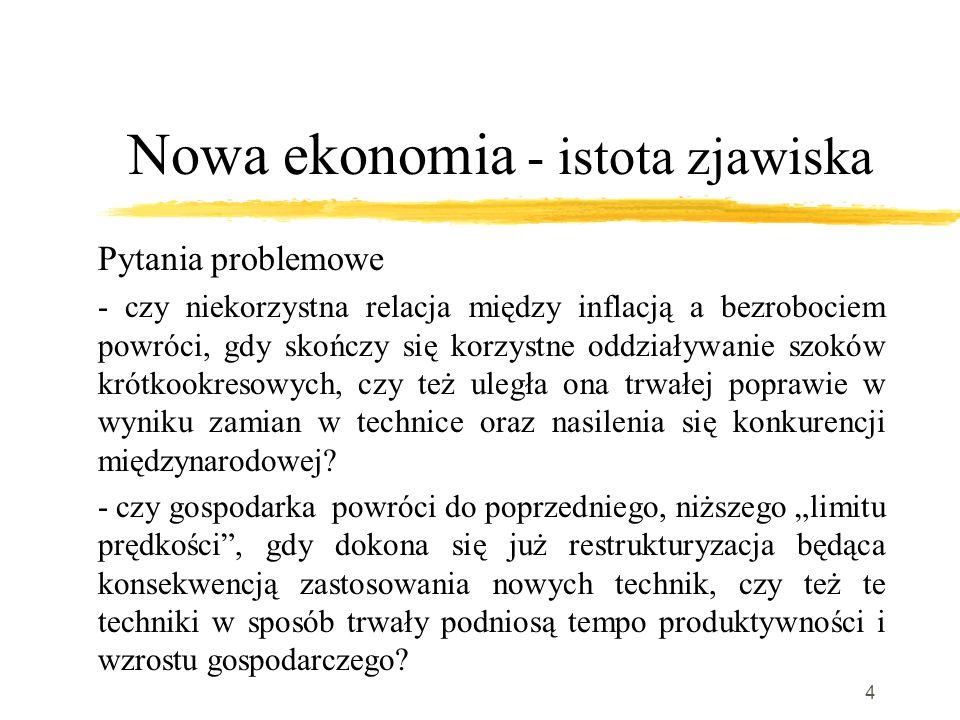 4 Nowa ekonomia - istota zjawiska Pytania problemowe - czy niekorzystna relacja między inflacją a bezrobociem powróci, gdy skończy się korzystne oddziaływanie szoków krótkookresowych, czy też uległa ona trwałej poprawie w wyniku zamian w technice oraz nasilenia się konkurencji międzynarodowej.