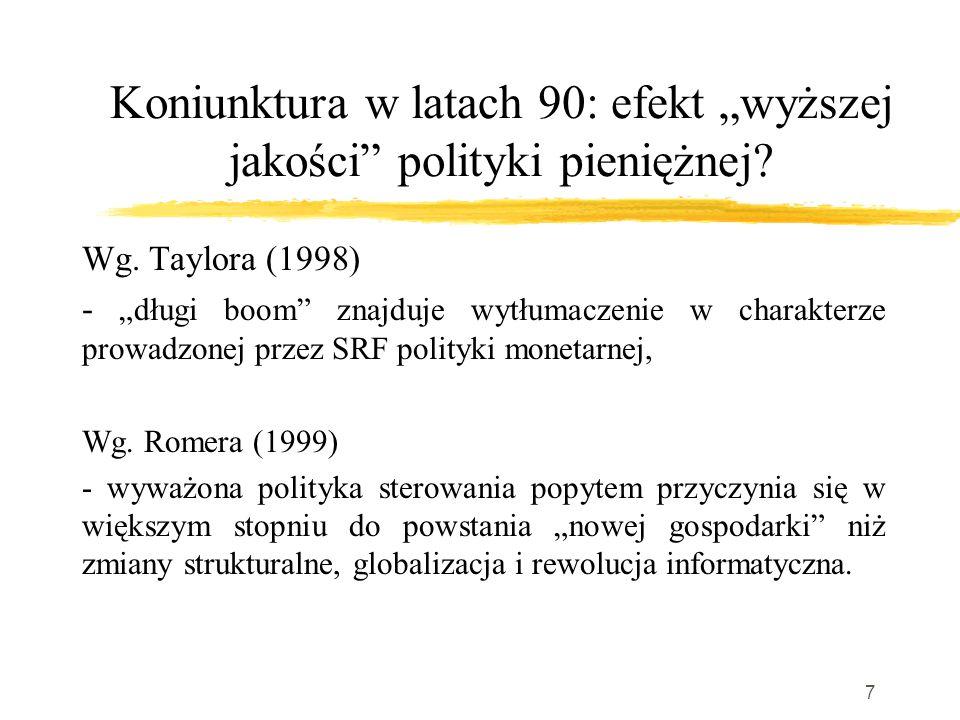 """7 Koniunktura w latach 90: efekt """"wyższej jakości polityki pieniężnej."""