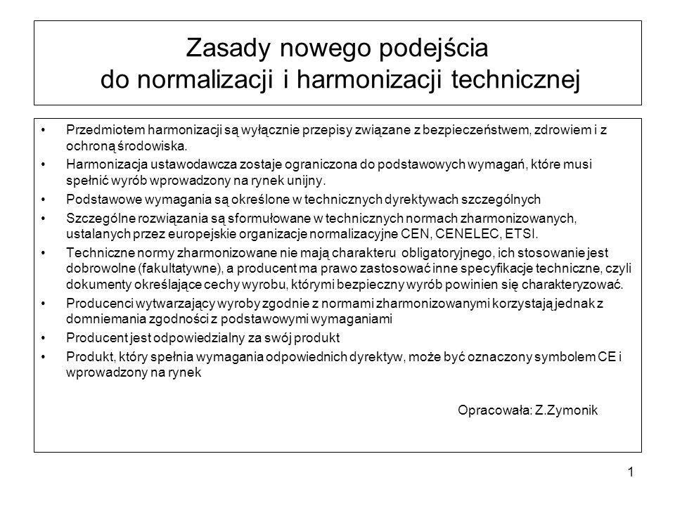 Zasady nowego podejścia do normalizacji i harmonizacji technicznej Przedmiotem harmonizacji są wyłącznie przepisy związane z bezpieczeństwem, zdrowiem