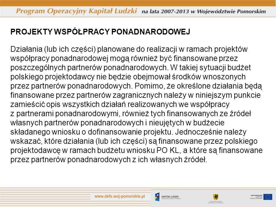 PROJEKTY WSPÓŁPRACY PONADNARODOWEJ Działania (lub ich części) planowane do realizacji w ramach projektów współpracy ponadnarodowej mogą również być finansowane przez poszczególnych partnerów ponadnarodowych.