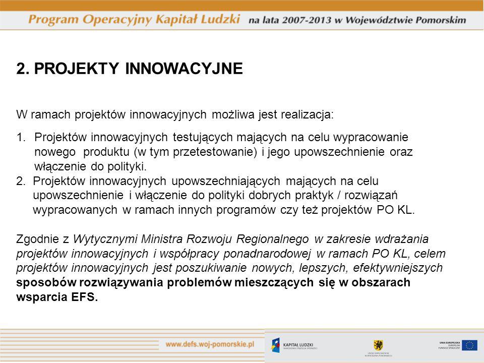 2. PROJEKTY INNOWACYJNE W ramach projektów innowacyjnych możliwa jest realizacja: 1.Projektów innowacyjnych testujących mających na celu wypracowanie