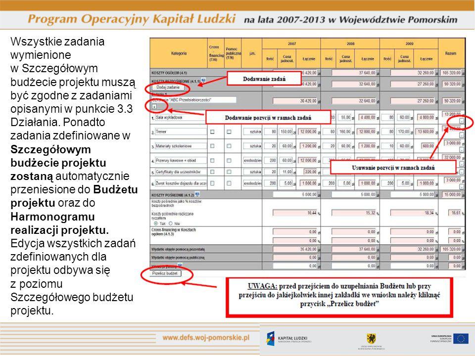 Wszystkie zadania wymienione w Szczegółowym budżecie projektu muszą być zgodne z zadaniami opisanymi w punkcie 3.3 Działania. Ponadto zadania zdefinio