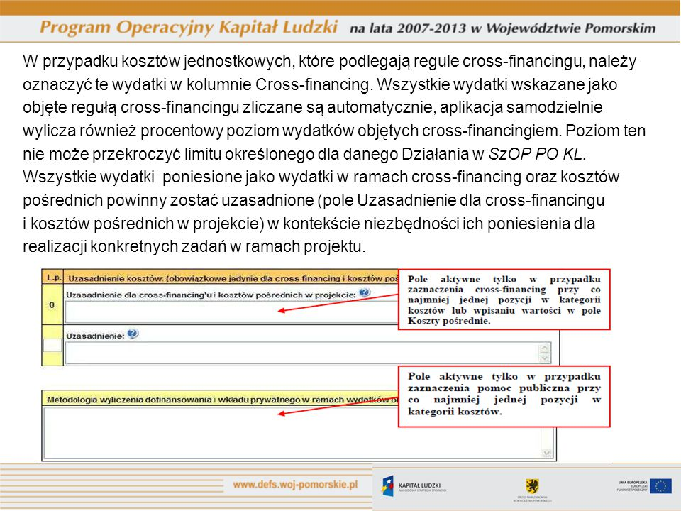 W przypadku kosztów jednostkowych, które podlegają regule cross-financingu, należy oznaczyć te wydatki w kolumnie Cross-financing. Wszystkie wydatki w