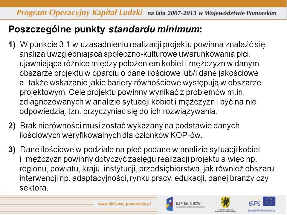 Poszczególne punkty standardu minimum: 1) W punkcie 3.1 w uzasadnieniu realizacji projektu powinna znaleźć się analiza uwzględniająca społeczno-kultur