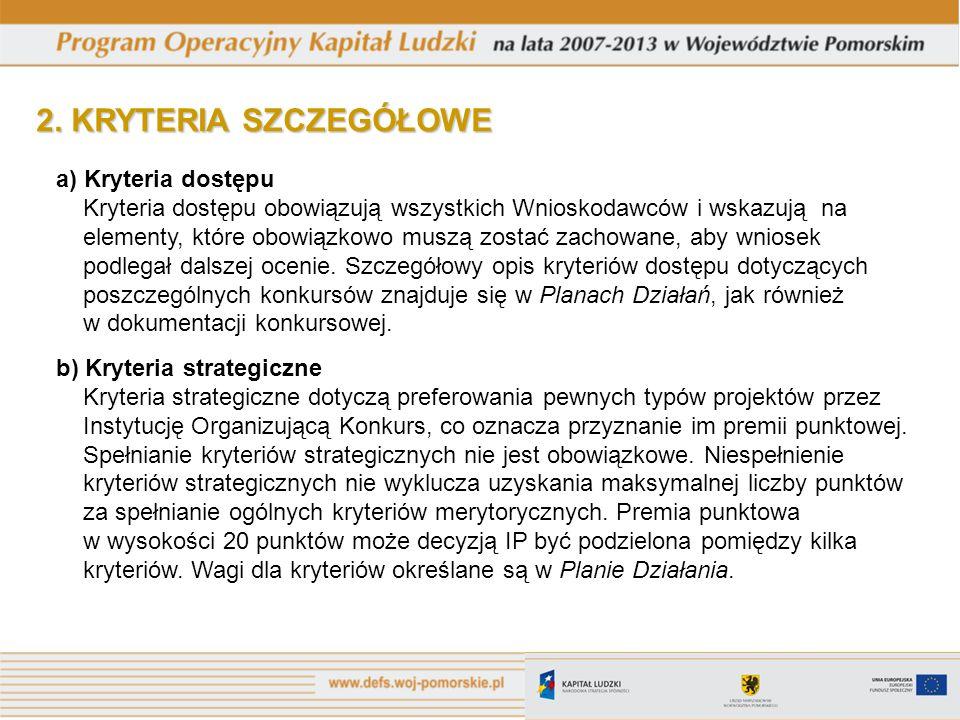 2. KRYTERIA SZCZEGÓŁOWE a) Kryteria dostępu Kryteria dostępu obowiązują wszystkich Wnioskodawców i wskazują na elementy, które obowiązkowo muszą zosta