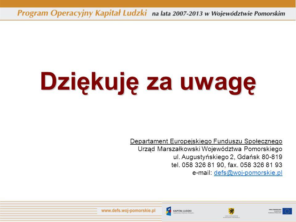 Dziękuję za uwagę Departament Europejskiego Funduszu Społecznego Urząd Marszałkowski Województwa Pomorskiego ul.