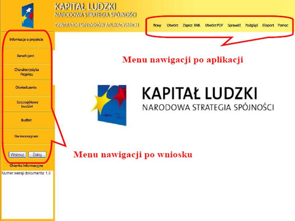 Menu nawigacji po aplikacji (menu górne) w ramach którego dostępne są następujące opcje: Nowy – utworzenie nowego wniosku o dofinansowanie. Po kliknię