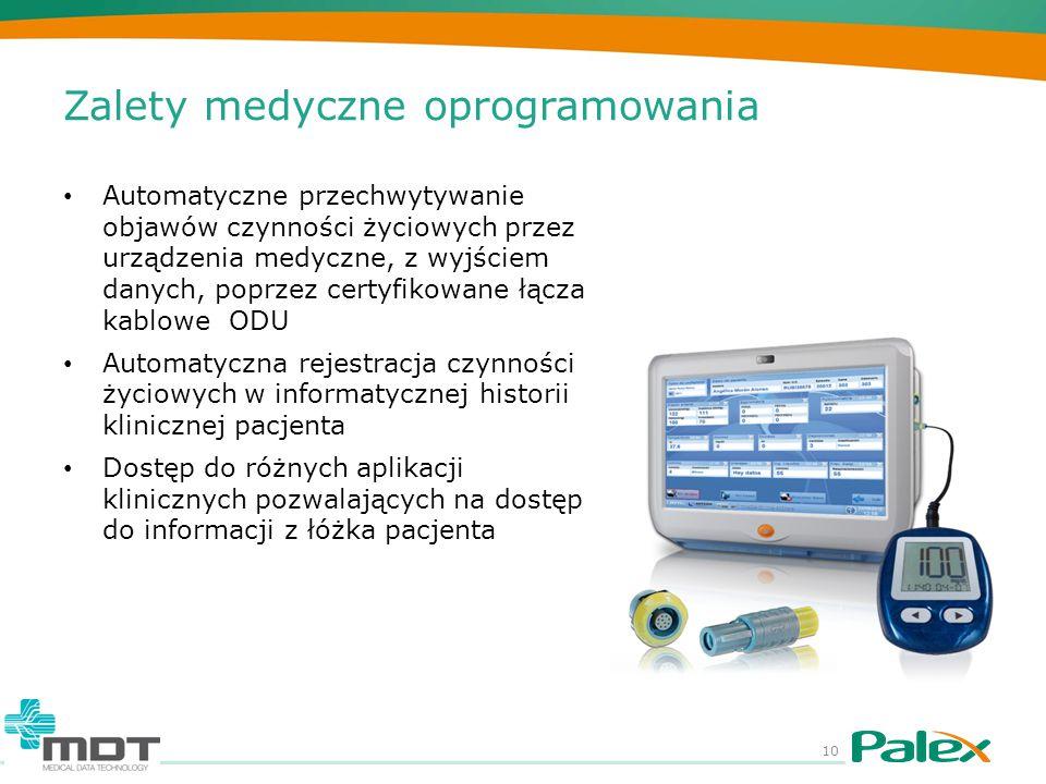 Zalety medyczne oprogramowania Automatyczne przechwytywanie objawów czynności życiowych przez urządzenia medyczne, z wyjściem danych, poprzez certyfik