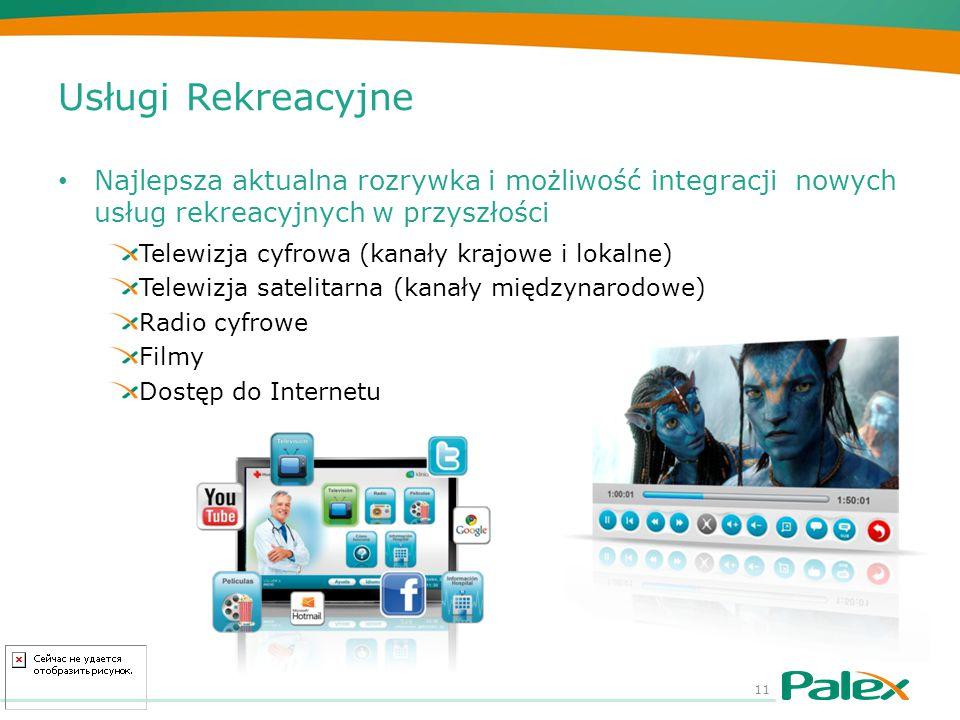 Usługi Rekreacyjne Najlepsza aktualna rozrywka i możliwość integracji nowych usług rekreacyjnych w przyszłości Telewizja cyfrowa (kanały krajowe i lok