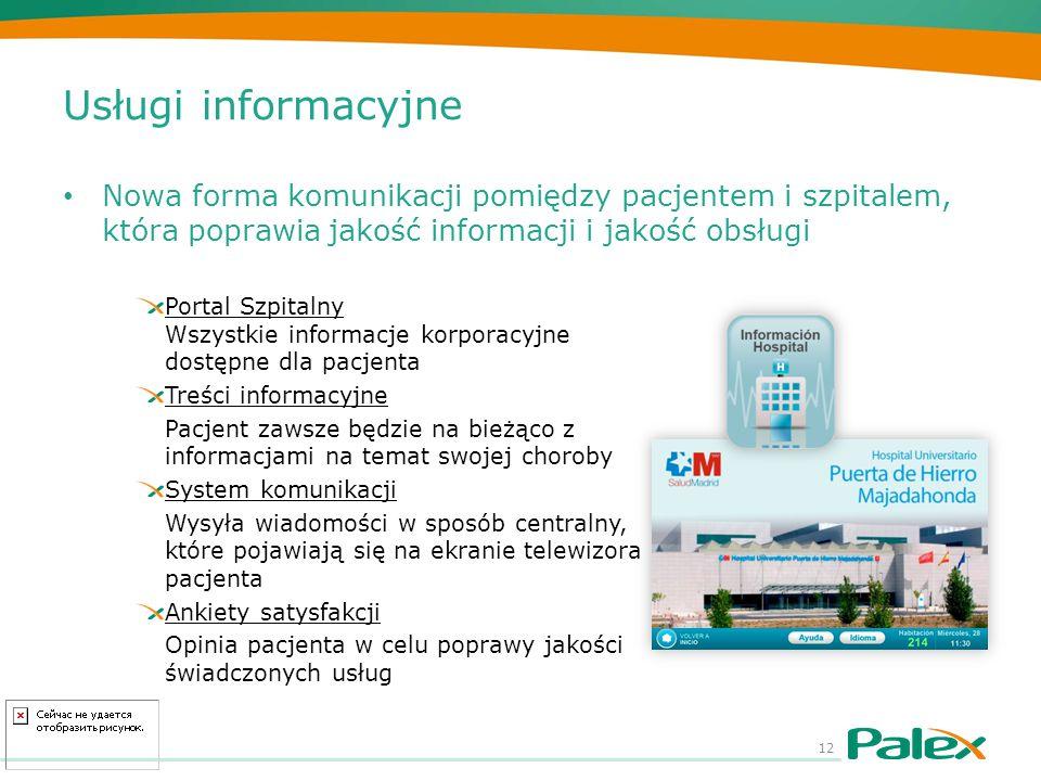 Usługi informacyjne Nowa forma komunikacji pomiędzy pacjentem i szpitalem, która poprawia jakość informacji i jakość obsługi 12 Portal Szpitalny Wszys