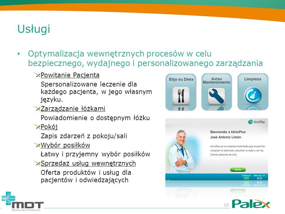 Usługi Optymalizacja wewnętrznych procesów w celu bezpiecznego, wydajnego i personalizowanego zarządzania 13 Powitanie Pacjenta Spersonalizowane leczenie dla każdego pacjenta, w jego własnym języku.