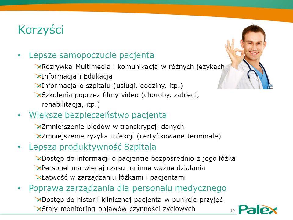 Korzyści Lepsze samopoczucie pacjenta Rozrywka Multimedia i komunikacja w różnych językach Informacja i Edukacja Informacja o szpitalu (usługi, godzin