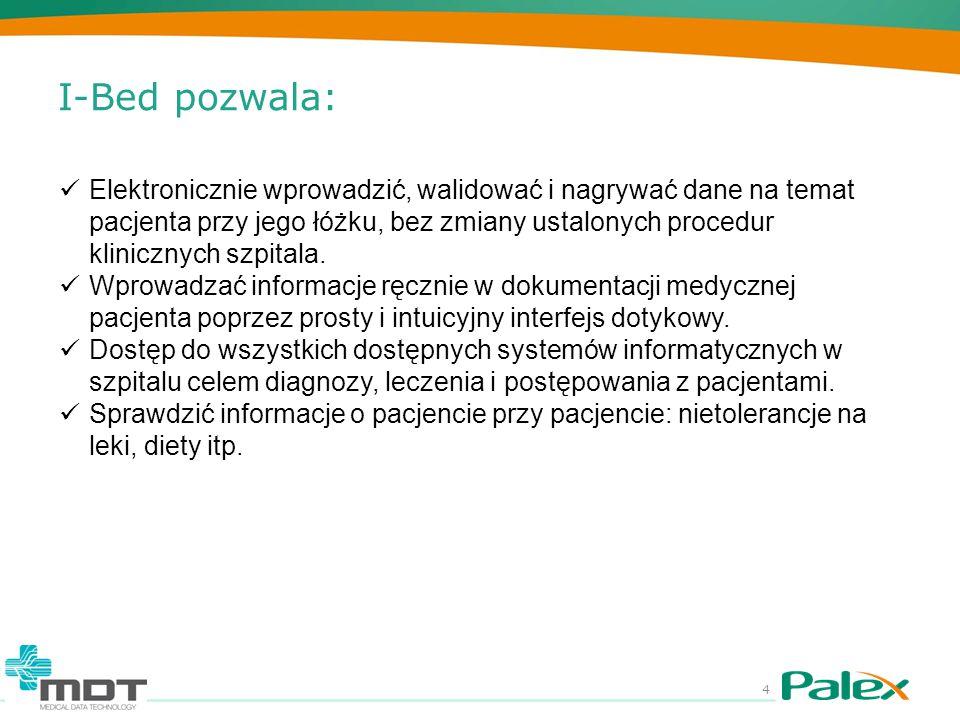 I-Bed pozwala: 4 Elektronicznie wprowadzić, walidować i nagrywać dane na temat pacjenta przy jego łóżku, bez zmiany ustalonych procedur klinicznych sz