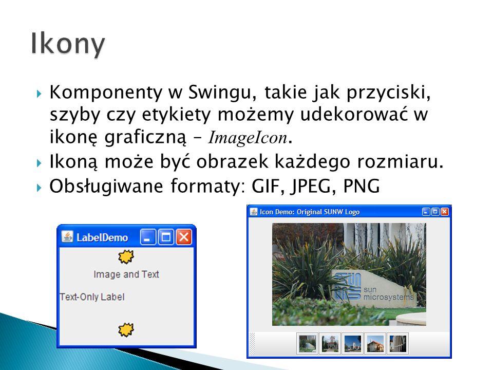  Komponenty w Swingu, takie jak przyciski, szyby czy etykiety możemy udekorować w ikonę graficzną – ImageIcon.