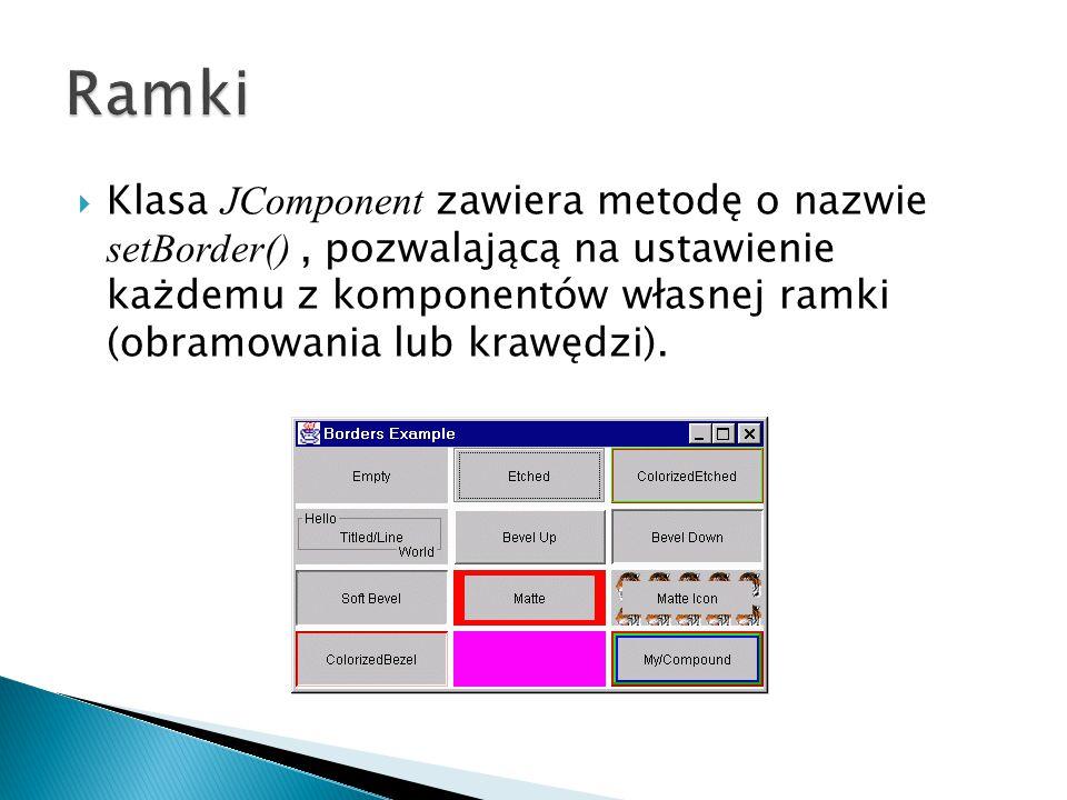  W Swingu mamy cztery rodzaje przycisków: ◦ JButton ◦ JToggleButton – przycisk dwustanowy ◦ JCheckBox ◦ JRadioButton  Podstawową funkcjonalność zapewnia klasa AbstractButton