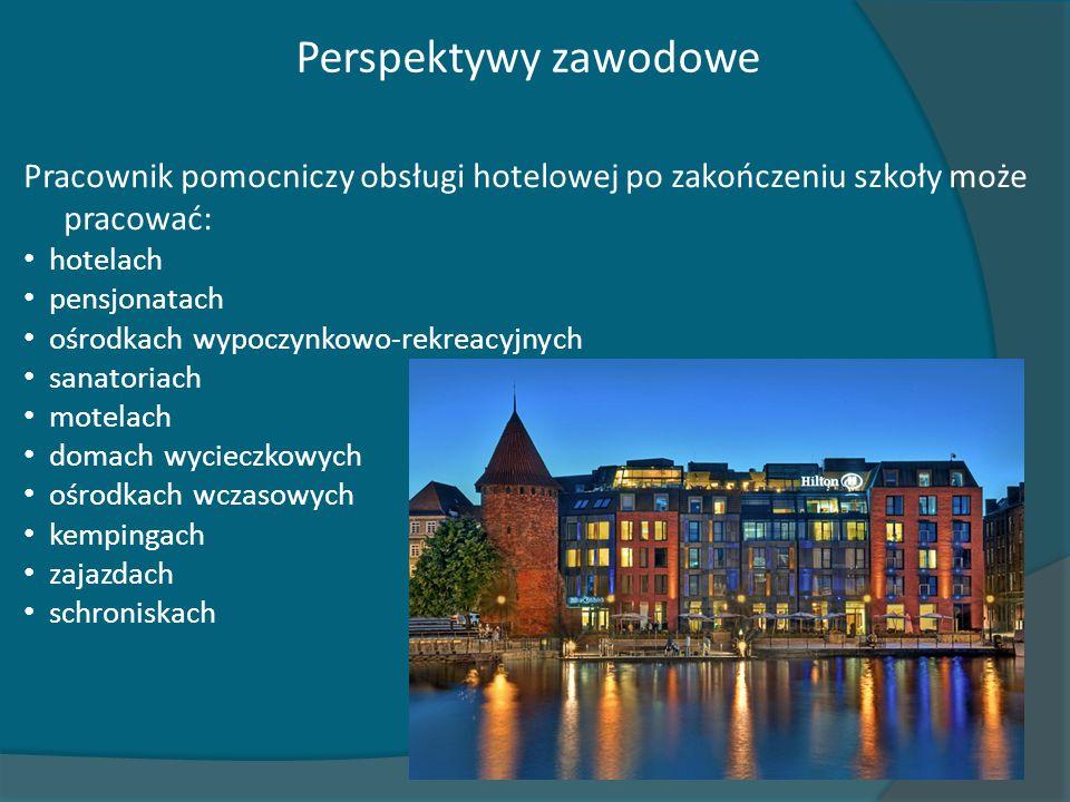 Perspektywy zawodowe Pracownik pomocniczy obsługi hotelowej po zakończeniu szkoły może pracować: hotelach pensjonatach ośrodkach wypoczynkowo-rekreacy