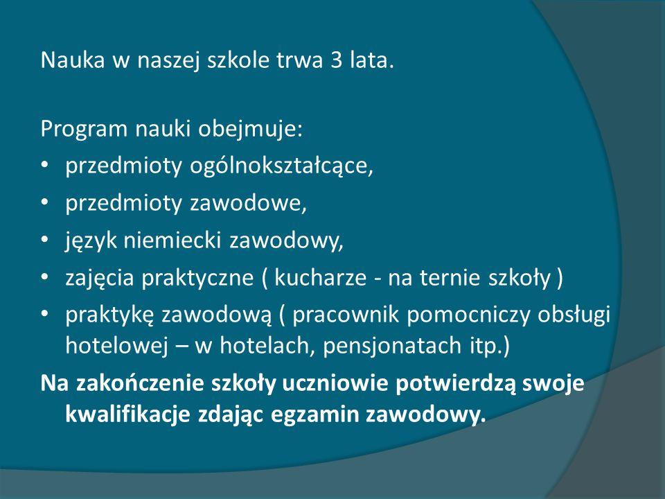 Nauka w naszej szkole trwa 3 lata. Program nauki obejmuje: przedmioty ogólnokształcące, przedmioty zawodowe, język niemiecki zawodowy, zajęcia praktyc