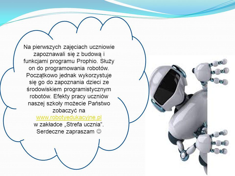 Na pierwszych zajęciach uczniowie zapoznawali się z budową i funkcjami programu Prophio. Służy on do programowania robotów. Początkowo jednak wykorzys