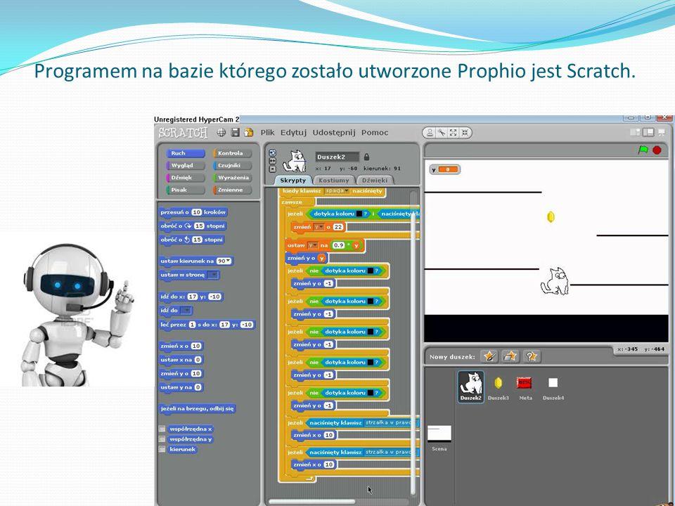 Programem na bazie którego zostało utworzone Prophio jest Scratch.