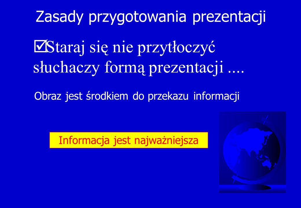 Zasady przygotowania prezentacji  Staraj się nie przytłoczyć słuchaczy formą prezentacji.... Obraz jest środkiem do przekazu informacji Informacja je