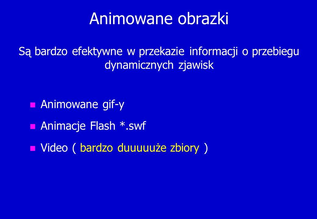 Animowane obrazki n Animowane gif-y n Animacje Flash *.swf n Video ( bardzo duuuuuże zbiory ) Są bardzo efektywne w przekazie informacji o przebiegu d