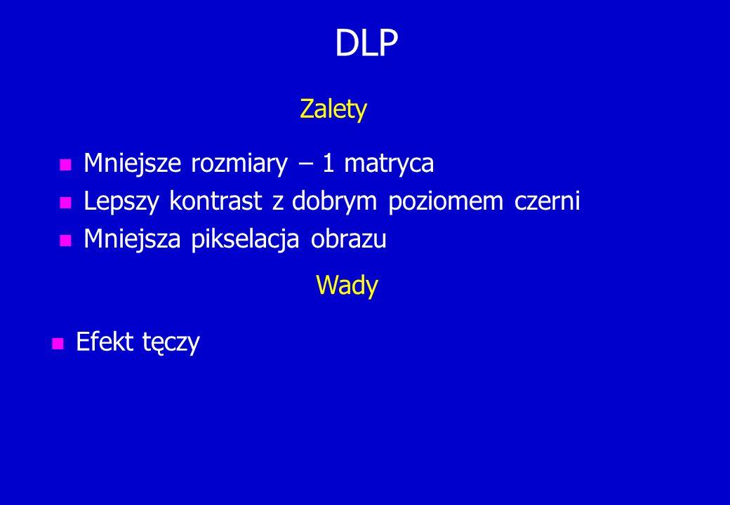 DLP n Mniejsze rozmiary – 1 matryca n Lepszy kontrast z dobrym poziomem czerni n Mniejsza pikselacja obrazu n Efekt tęczy Zalety Wady