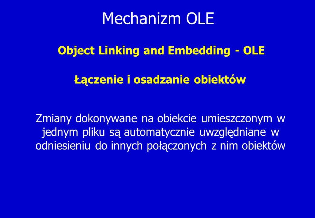 Mechanizm OLE Object Linking and Embedding - OLE Łączenie i osadzanie obiektów Zmiany dokonywane na obiekcie umieszczonym w jednym pliku są automatycz